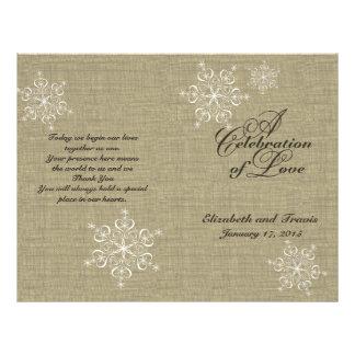 Snowflakes and Burlap Wedding Program 21.5 Cm X 28 Cm Flyer