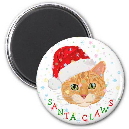 Snowflakes and Cute Cat in Santa Hat Christmas Magnet