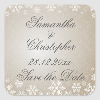 Snowflakes and Damask Save the Date Square Sticker