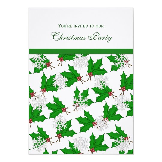 Snowflakes and Holly Party Invitations