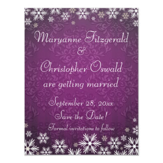 Snowflakes and Purple Damask Save the Date Card