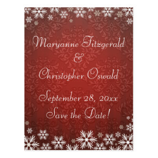 Snowflakes and Red Damask Wedding Save the Date Postcard