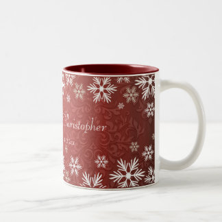 Snowflakes and Red Damask Wedding Two-Tone Coffee Mug
