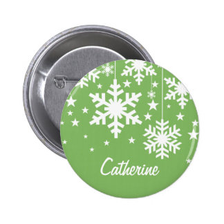 Snowflakes and Stars Button Green