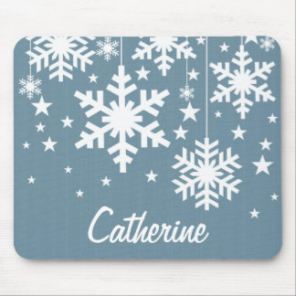 Snowflakes and Stars Mousepad, Blue
