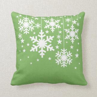 Snowflakes and Stars Pillow, Green Cushion