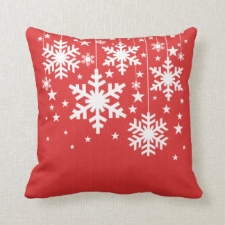 Snowflakes and Stars Pillow, Red Cushion