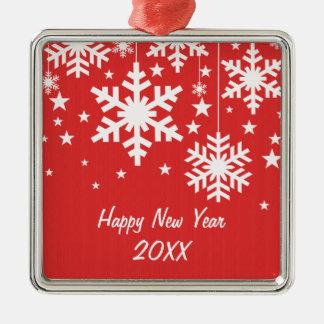 Snowflakes and Stars Premium Ornament, Red Silver-Colored Square Decoration