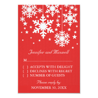Snowflakes and Stars Response Card, Red 9 Cm X 13 Cm Invitation Card