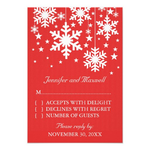 Snowflakes and Stars Response Card, Red Personalized Announcement