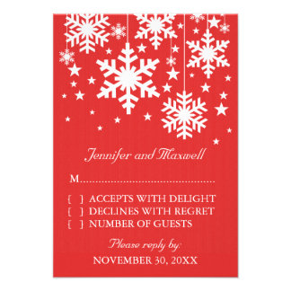 Snowflakes and Stars Response Card Red Personalized Announcement