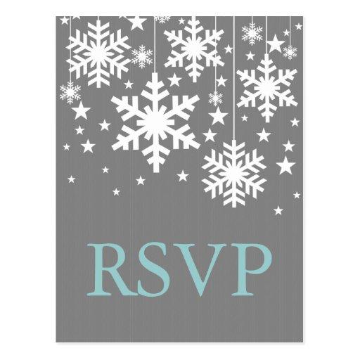 Snowflakes and Stars RSVP Postcard, Gray