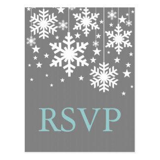 Snowflakes and Stars RSVP Postcard, Gray Postcard