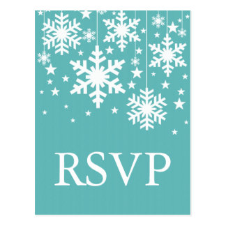 Snowflakes and Stars RSVP Postcard Turquoise