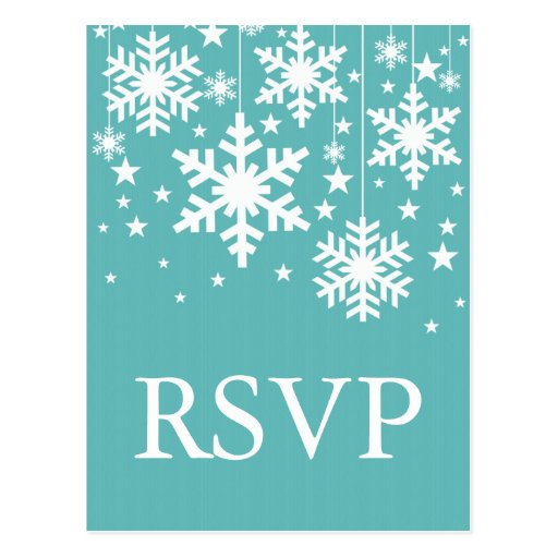 Snowflakes and Stars RSVP Postcard, Turquoise