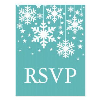 Snowflakes and Stars RSVP Postcard, Turquoise Postcard