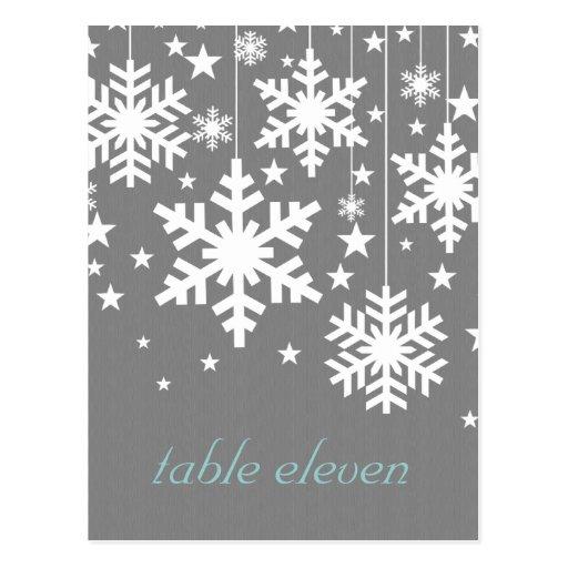 Snowflakes and Stars Table Postcard, Gray