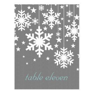 Snowflakes and Stars Table Postcard, Gray Postcard