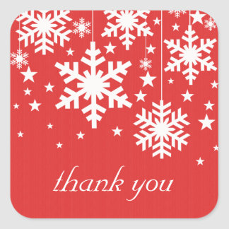 Snowflakes and Stars Thank You Stickers, Red Square Sticker