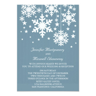 Snowflakes and Stars Wedding Invite, Blue Card