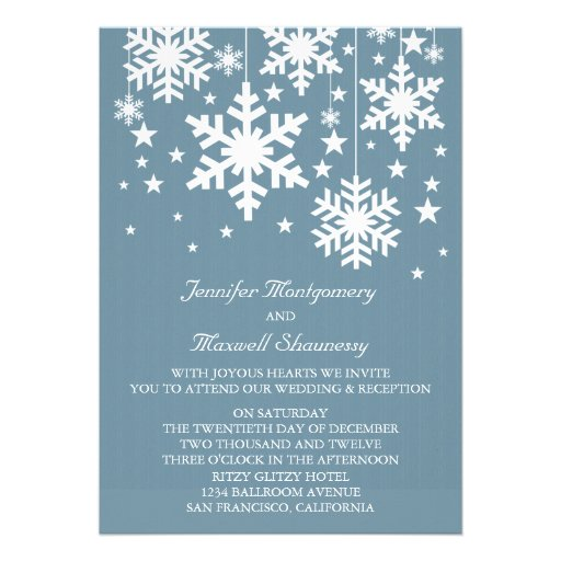 Snowflakes and Stars Wedding Invite, Blue