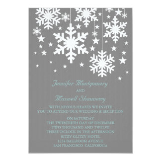 Snowflakes and Stars Wedding Invite, Gray Card