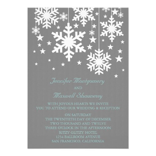 Snowflakes and Stars Wedding Invite, Gray