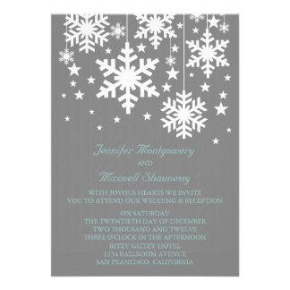 Snowflakes and Stars Wedding Invite Gray