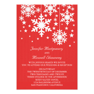 Snowflakes and Stars Wedding Invite, Red