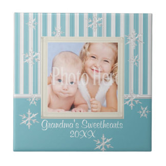 Snowflakes and Stripes Photo Frame Small Square Tile