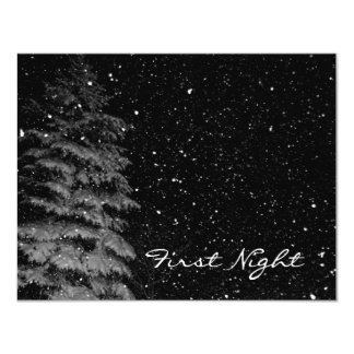 snowflakes at night  unique photograph 11 cm x 14 cm invitation card