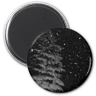 snowflakes at night  unique photograph refrigerator magnet