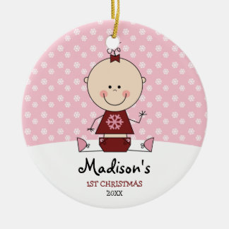 Snowflakes Baby Girl 1st Christmas Personalized Christmas Ornament