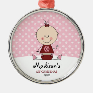 Snowflakes Baby Girl 1st Christmas Personalized Silver-Colored Round Decoration