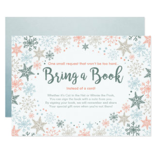 Snowflakes Baby Shower Bring a book Winter Blue Card