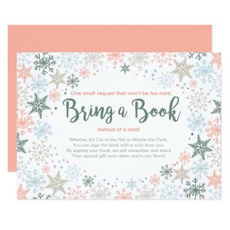 Snowflakes Baby Shower Bring a book Winter Coral Card
