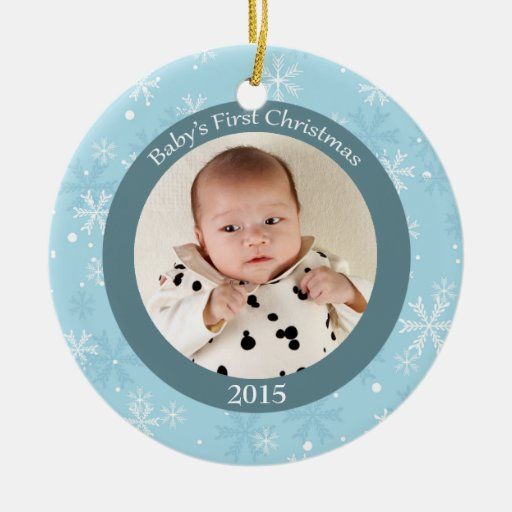Snowflakes baby's first Christmas photo ornament