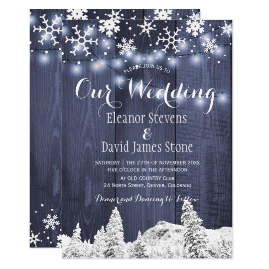 Snowflakes barn wood winter wonderland wedding card