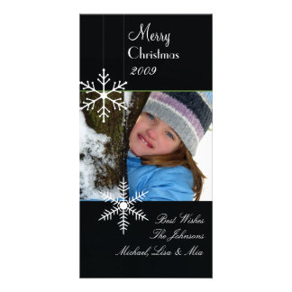 Snowflakes ~ black and white christmas, green trim card