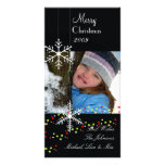 Snowflakes ~ black and white christmas personalised photo card