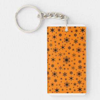 Snowflakes - Black on Amber Rectangular Acrylic Keychains