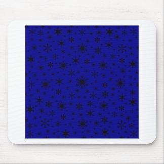 Snowflakes – Black on Dark Blue Mousepads