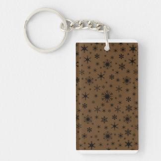 Snowflakes - Black on Dark Brown Double-Sided Rectangular Acrylic Keychain