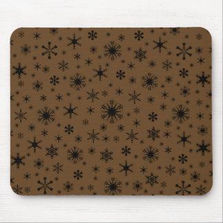 Snowflakes - Black on Dark Brown Mouse Pad
