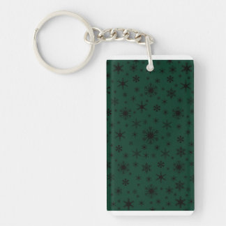 Snowflakes - Black on Dark Green Acrylic Keychains