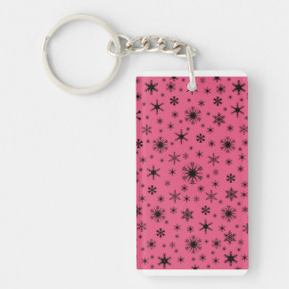 Snowflakes - Black on Dark Pink Rectangle Acrylic Keychains