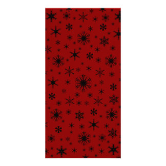 Snowflakes - Black on Dark Red Photo Card Template