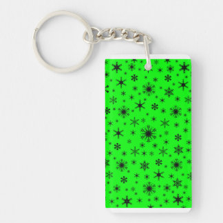 Snowflakes - Black on Electric Green Key Chains