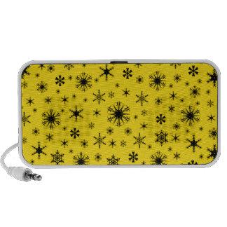 Snowflakes – Black on Golden Yellow iPhone Speakers