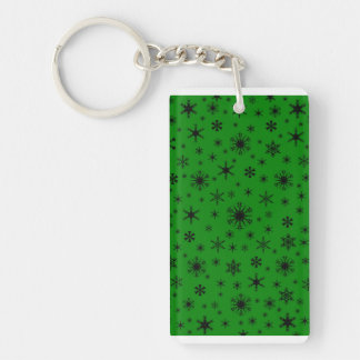 Snowflakes - Black on Green Keychains